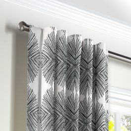 Black & White Spiky Oval Back Tab Curtains Close Up