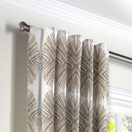 White & Tan Spiky Oval Back Tab Curtains Close Up