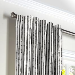 Black & White Bamboo Back Tab Curtains Close Up