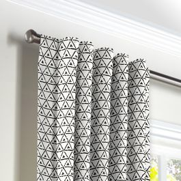 Black & White Mudcloth Back Tab Curtains Close Up