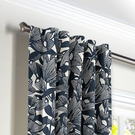 Modern Navy Blue Floral Back Tab Curtains Close Up