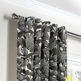 Modern Black & White Floral Back Tab Curtains Close Up