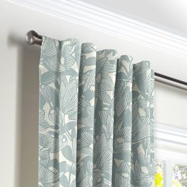 Modern Light Blue Floral Back Tab Curtains Close Up