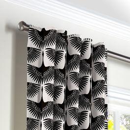 Flocked Black & White Bird Back Tab Curtains Close Up