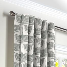 Flocked Gray Bird Back Tab Curtains Close Up