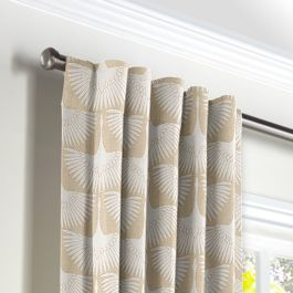 Natural & White Bird Back Tab Curtains Close Up