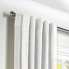 Warm White Gauzy Linen Back Tab Curtains Close Up
