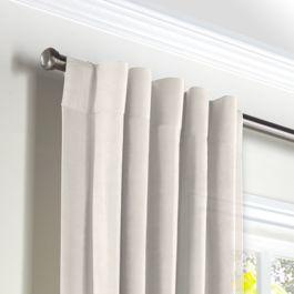 Ivory Gauzy Linen Back Tab Curtains Close Up