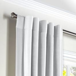 Traditional White Linen Back Tab Curtains Close Up
