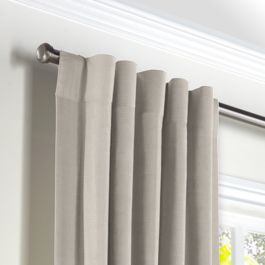 Light Taupe Linen Back Tab Curtains Close Up