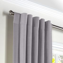 Purple Linen Back Tab Curtains Close Up