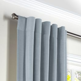 Blue-Gray Linen Back Tab Curtains Close Up