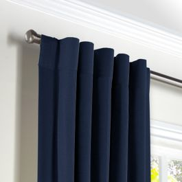 Dark Indigo Blue Linen Back Tab Curtains Close Up