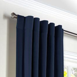 Dark Indigo Blue Linen Back Tab Curtains Close Up