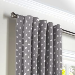White & Gray Polka Dot Back Tab Curtains Close Up