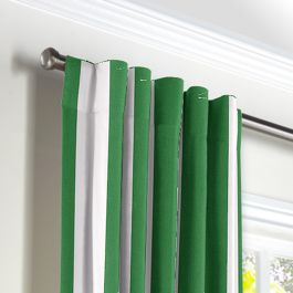 Green Awning Stripe Back Tab Curtains Close Up