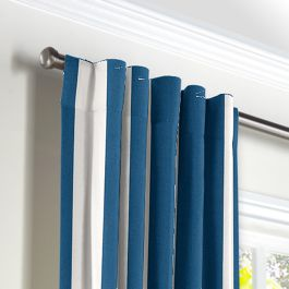 Royal Blue Awning Stripe Back Tab Curtains Close Up
