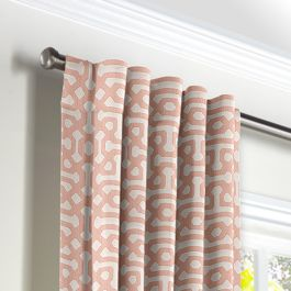 Pale Coral Trellis Back Tab Curtains Close Up