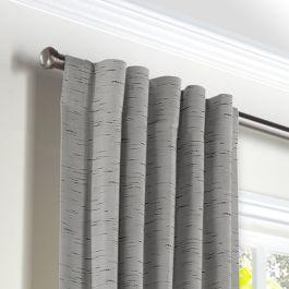 Gray Marled Back Tab Curtains Close Up