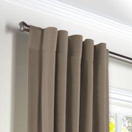 Taupe Sunbrella® Canvas Back Tab Curtains Close Up