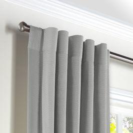 Flecked Gray Sunbrella® Canvas Back Tab Curtains Close Up
