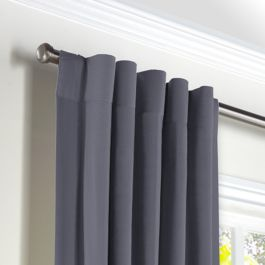 Gray Sunbrella® Canvas Back Tab Curtains Close Up