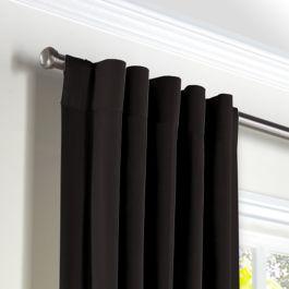 Black Sunbrella® Canvas Back Tab Curtains Close Up