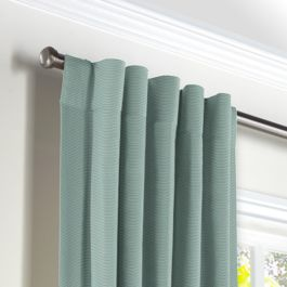 Seafoam Sunbrella® Canvas Back Tab Curtains Close Up