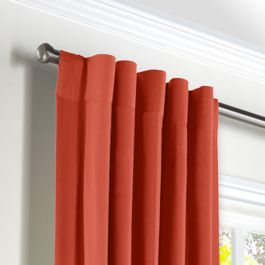 Tomato Red Sunbrella® Canvas Back Tab Curtains Close Up