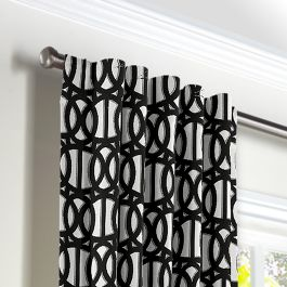 Black & White Trellis Back Tab Curtains Close Up