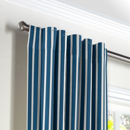 Bright Blue Thin Stripe Back Tab Curtains Close Up