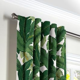 Green Banana Leaf Back Tab Curtains Close Up