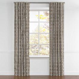 Modern Taupe Trellis Back Tab Curtains Close Up