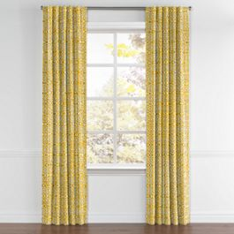 Modern Yellow Trellis Back Tab Curtains Close Up