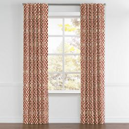 Flocked Tan & Red Trellis Back Tab Curtains Close Up