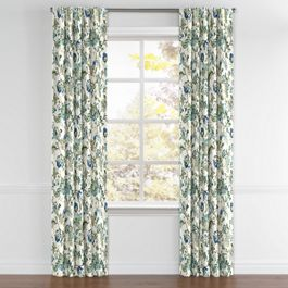 Jacobean Blue Floral Back Tab Curtains Close Up