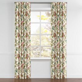 Teal & Pink Floral Back Tab Curtains Close Up