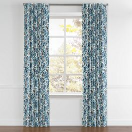 Beige & Blue Suzani Back Tab Curtains Close Up