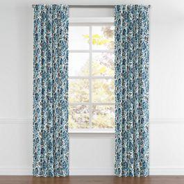Beige & Blue Suzani Back Tab Curtains Close Up