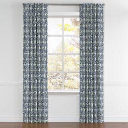 Blue Moroccan Mosaic Back Tab Curtains Close Up
