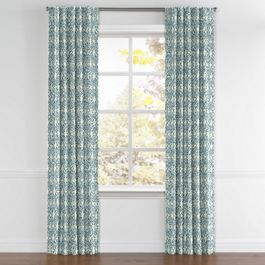 Aqua Moroccan Mosaic Back Tab Curtains Close Up