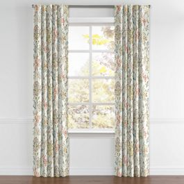 Delicate Aqua Blue Floral Back Tab Curtains Close Up