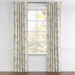Delicate Aqua Blue Floral Back Tab Curtains Close Up