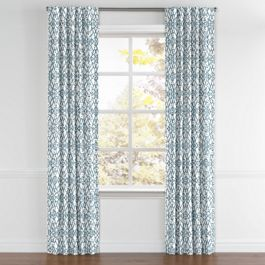 Turquoise Trellis Scroll Back Tab Curtains Close Up