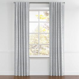 Cool Gray Trellis Scroll Back Tab Curtains Close Up