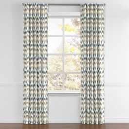Tan & Blue Flame Stitch Back Tab Curtains Close Up