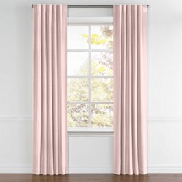 Pastel Pink Linen Back Tab Curtains Close Up