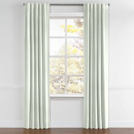 Pale Seafoam Slubby Linen Back Tab Curtains Close Up
