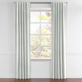 Pale Gray Slubby Linen Back Tab Curtains Close Up