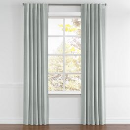 Gray Slubby Linen Back Tab Curtains Close Up